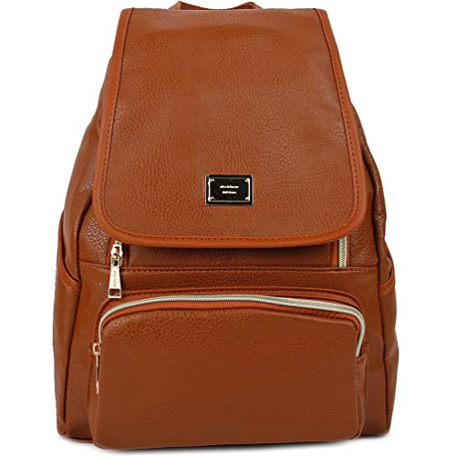 Deluxe Leather Backpack - Copi Women's Modern Design Deluxe Fashion Backpacks One Size Camel