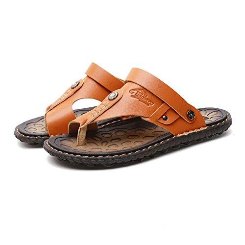 Newbestyle Men Summer Leather Sandals Flip Flops Beach Sandals Slippers Yellow K97laddq10