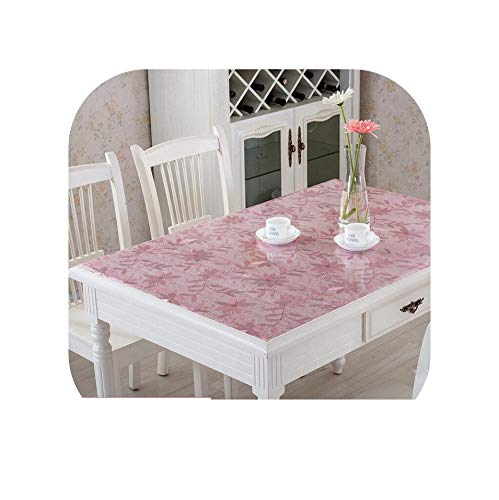Tablecloths Flower Dot Soft Glass Tablecloth Color PVC Crystal Plate Dining Table Pad Mat Desktop Flower Printing Waterproof Tablecloth 1Mm,01,80120Cm