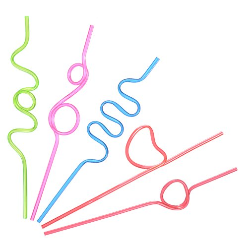 JOYEAN Crazy Straws 50pcs for Kids, Fun Varied Twists and Vibrant Colors Silly Straws by JOYEAN (Image #3)