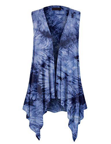 Light Blue Tie Dye - Made By Johnny MBJ WSK1094 Womens Lightweight Sleeveless Tie Dye Open Front Drape Cardigan XL Navy