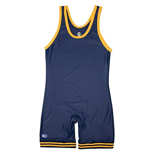 Cliff Keen Collegiate Singlet - Men's ( sz. S, Navy/Light Gold ) by Cliff Keen