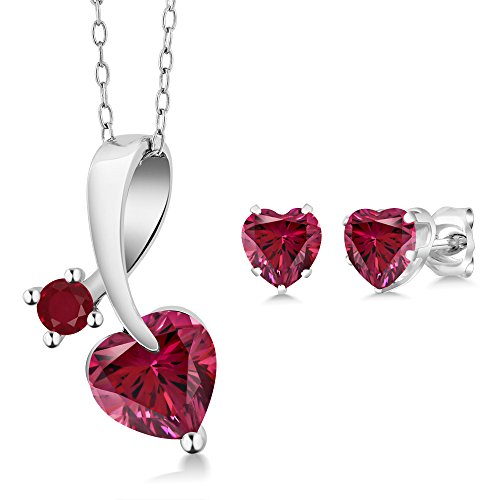2.15 Ct 925 Silver Pendant Earrings Set Made With Red Swarovski Zirconia