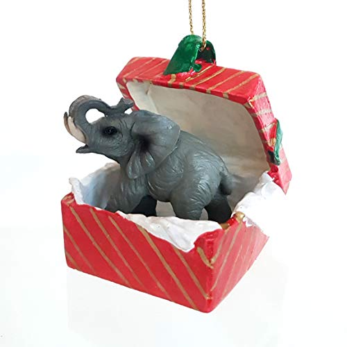 - Conversation Concepts Elephant Gift Box Red Ornament by Eyedeal Figurines