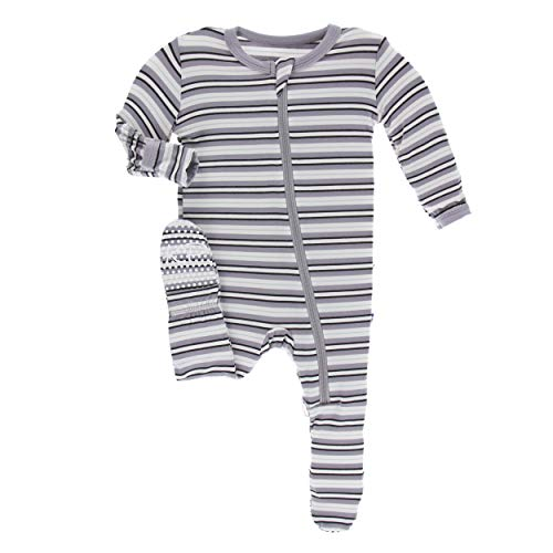 Kickee Pants Little Boys Print Footie with Zipper - India Pure Stripe, 6-9 Months ()