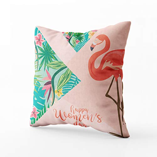 Capsceoll International Day Greeting Card Tropical Flowers Throw Pillow Case 20X20Inch,Home Decoration Pillowcase Zippered Covers Cushion for Sofa Couch