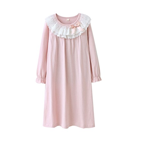 KINYBABY Girls Cotton Nightgown Lace Bowknot Princess Sleepwear Nightwear Dress