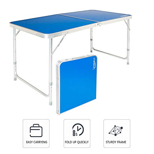 VINGLI 4ft Portable Folding Table with 3 Adjustable Height, Lightweight Camping Picnic Party Dining BBQ Desk with Carry Handle