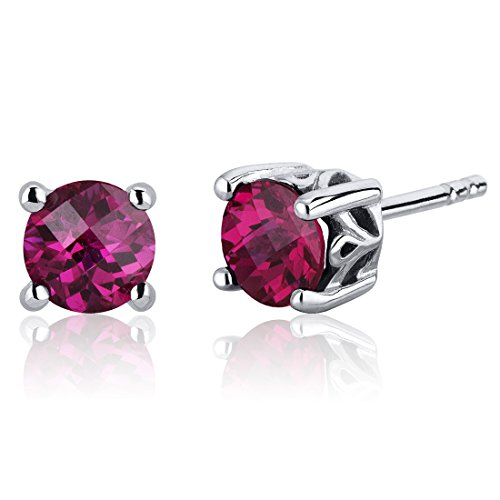 Scroll Design 2.00 Carats Created Ruby Round Cut Stud Earrings in Sterling -