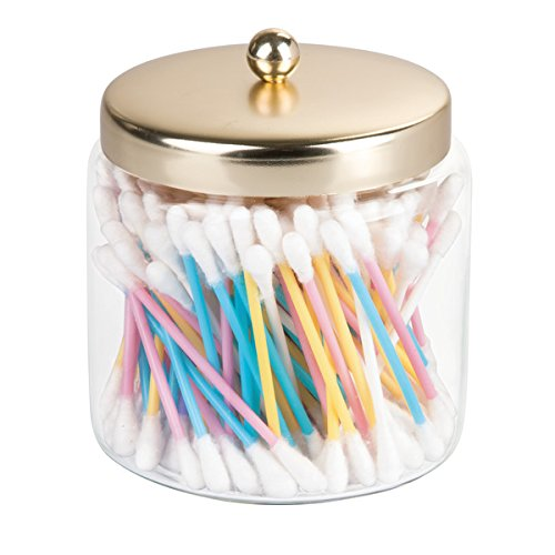 mDesign Cotton Pad Holder - Cotton Bud Holder - Glass Bathroom Jars with Lids - Cotton Bud and Pad Holder - Bathroom Storage Jars - Clear MetroDecor 7493MDBA