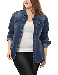 cb6a57fc8cc Women s Plus Size Button Down Washed Denim Jacket with Chest Flap Pocket