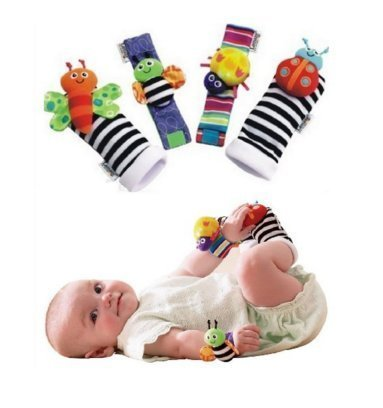 Onebest 4 x Baby Infant Soft Toy Wrist Rattles Hands Foots finders Developmental LAMAZE