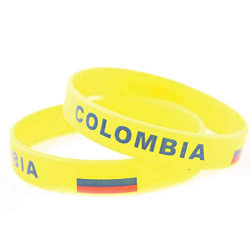 Fifa Worldcup Silicone Soccer Fans Wristbands with Colombia Natioanal Flag 2 Pairs (World Soccer Bracelet)