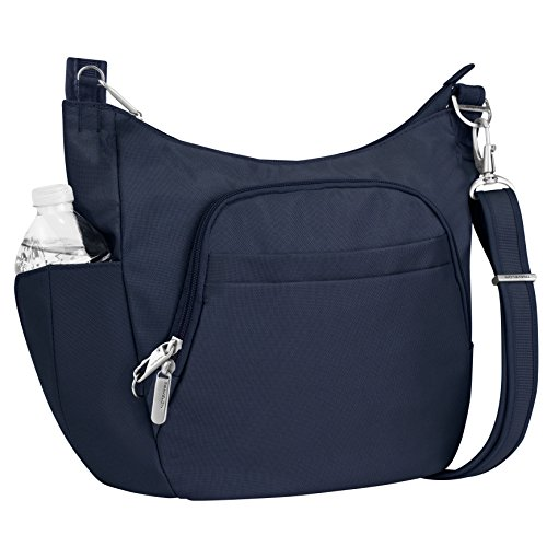 Day Trip Cable Sweater - Travelon Anti-Theft Cross-Body Bucket Bag, Midnight, One Size - 42757 360
