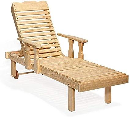 Amazon.com: Ocio césped Amish pino amarillo Chaise Lounge de ...