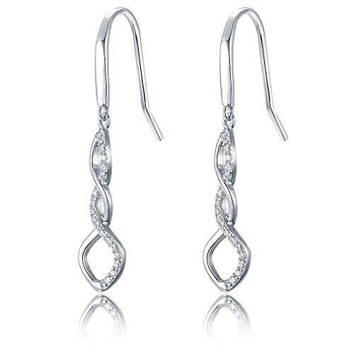 925 Silver Swirl Twist Cubic Zirconia Crystal Hook Dangle Drop Earrings for Women Gift DE0062W