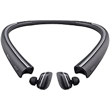 LG TONE FREE HBS-F110 Wireless Bluetooth Earbuds with Charging Neckband – Black (Certified Refurbished)