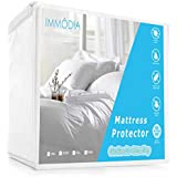 IMMODIA Queen Durable Soft Cotton Terry Surface Fitted Mattress Cover - Vinyl Free - Premium Hypoallergenic 100% Waterproof Mattress Protector