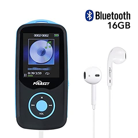 MP3 Player, Puersit HiFi Bluetooth 4.0 16GB Memory Capacity(Expandable up to 64GB) 50 Hours Playback 3500 songs Lossless Sound Music Player, Headphones (Mp3 Player Hi Fi)