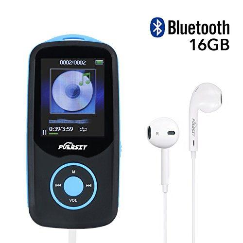 MP3 Player, Puersit HiFi Bluetooth 4.0 16GB Memory Capacity(Expandable up to 64GB) 50 Hours Playback 3500 songs Lossless Sound Music Player, Headphones Included(Blue)