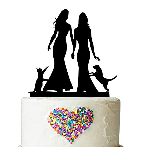 (Same Sex Mrs and Mrs and Cat Dog Cake Topper - Silhouette Couple Bride and Bride Wedding Party Decorations - Hers & Hers Lesbian Marriage UnionMarriage Union (Blcak))