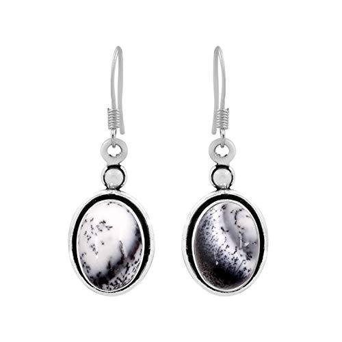 Natural Oval Shape Dendrite Opal Dangle Earrings 925 Silver Plated Handmade Bohemian Vintage Style For Women Girls
