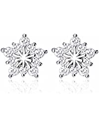 Snowflake Star White Gold Planting Stud Earrings with Clear CZ & 925 Sterling Sliver - Winter Fashion Accesories Collection