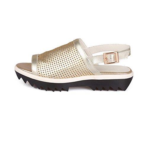Gold AllhqFashion Womens Solid Sandals Pull Heels Low On Toe Open qZw1pqz
