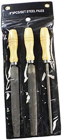 Lot de 3 limes /à aiguilles BE-TOOL 20,3 cm pour cl/és en bois avec poign/ées en bois pour m/étal et plastique