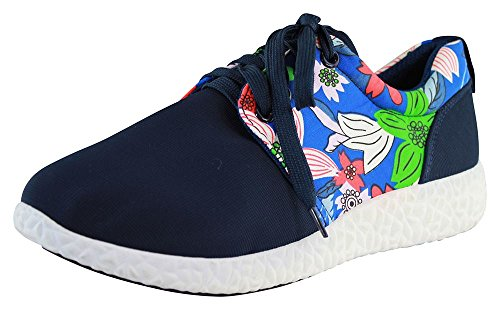 New Womens Lace Up Trainers Flower Flat Gym Running Comfy Ladies Shoes Sizes Blue 6lxn9v