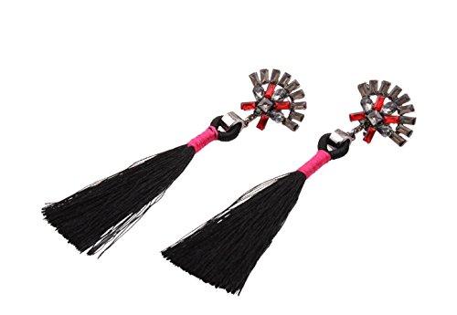 boucles d'oreilles Black pampilles d'oreilles longues et femmes pour Longues ethniques rétro boucles à d58aw7Uxq