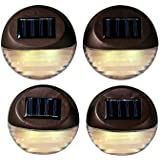 Set of 4 Super Bright Round Brown Security Solar Water Resistant Fence Lights Best for Fences, Patios, Decks, Walkways, and Gardens