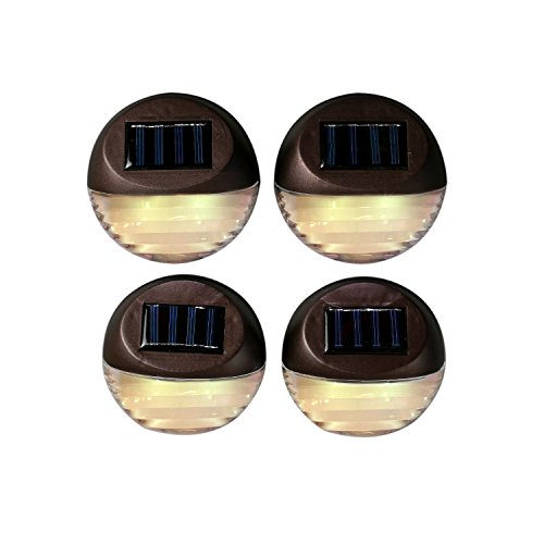 Outdoor LED Solar Wall Lights, Dusk to Dawn, Wireless, Waterproof, Batteries Included, Brown Security Fence Lights by LampLust - Pack of (4 Light Outdoor Sconce)