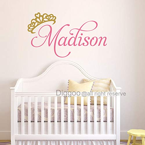 Personalized Princess Wall Decal Crown Name Decal Custom Baby Name Wall Decal for Girls Bedroom Decor (9.5
