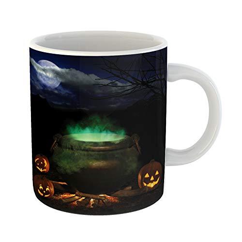 Emvency Coffee Tea Mug Gift 11 Ounces Funny Ceramic Halloween Night Bubbling Iron Cauldron Orange Pumpkin Jack O Lanterns and Full Gifts For Family Friends Coworkers Boss Mug for $<!--$16.99-->