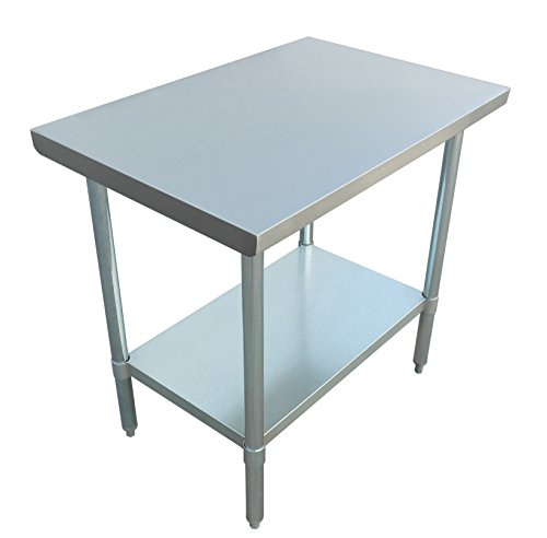 Galvanized Steel Undershelf - JET Stainless Steel Commercial Utility NSF Kitchen Prep and Work Table Holds Up to 700 Pounds with Adjustable Galvanized Undershelf for Restaurants and Homes, 36 inch Long x 24 inch Wide, Silver