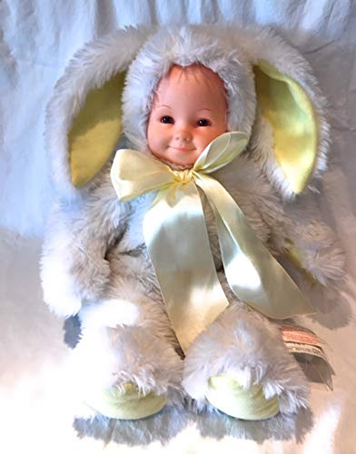 Anne Geddes Baby Bunny Rabbit Yellow and White Plush Doll