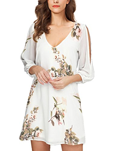 Noctflos Women Summer Cold Shoulder White Floral Shift Dress 3/4 Sleeve Loose Tunic Dress