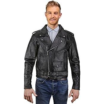 Amazon Com Mens Leather Motorcycle Jacket Cowhide Leather Biker