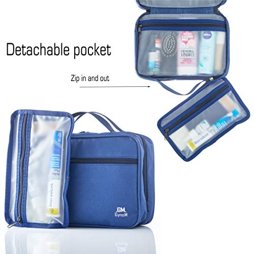 Hanging Toiletry Travel Bag by GYNOM | Compact Toiletry Bag with Waterproof Zippered pockets, mesh pouch for toothbrush & Reliable Hook | Medium Cosmetic Kit Organizer (blue)