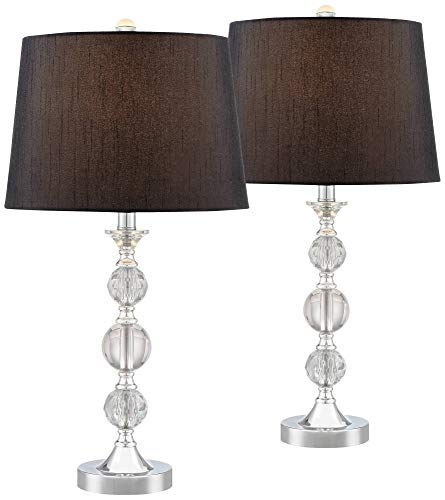 - Gustavo Modern Table Lamps Set of 2 Silver Metal Stacked Crystal Balls Black Drum Shade for Living Room Family Bedroom