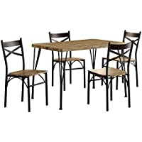 HOMES: Inside + Out IDF-3279T-43-5PK Marva Table Set Gray/Dark Bronze 5 Piece Dining