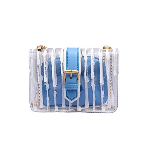 Blue Striped Messenger Bag - UKEDKC Women Bag Candy Purse Summer Chain Transparent Clear Composite Bag Messenger Handbag Striped Shoulder Bag Blue