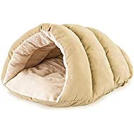 Ethical Pets Sleep Zone Faux Suede Cuddle Cave Dog Bed - Fabric Bottom - 22X17 Inches/Tan / Attractive, Durable, Comfortable, Washable