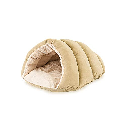 Sleep Zone Faux Suede Cuddle Cave Dog Bed - Fabric Bottom - 22X17 Inches/Tan/Attractive, Durable, Comfortable, Washable. by Ethical Pets