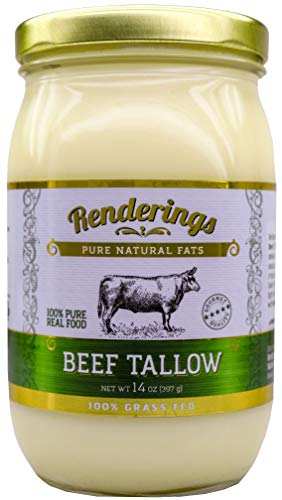 Rendering's Beef Tallow, 100% Grass-Fed & Finished, Cooking, Baking and Frying, 14 oz jar (Grass Fed Beef Roast)