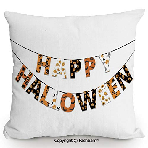 FashSam Polyester Throw Pillow Cushion Happy Halloween Banner Greetings Pumpkins Skull Cross Bones Bats Pennant Decorative for Sofa Bedroom Car Decorate(20