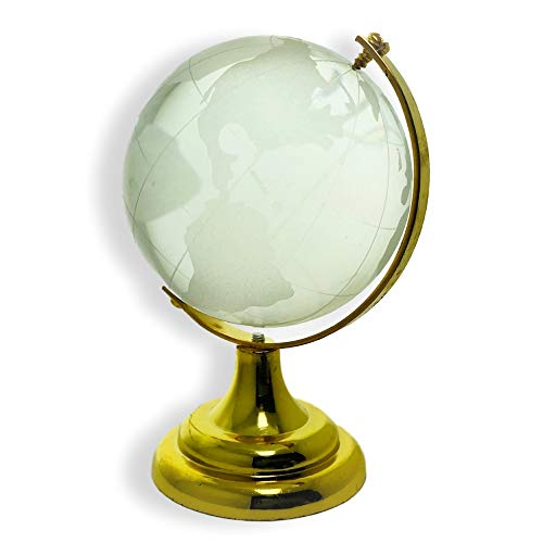 BANBERRY DESIGNS Etched Crystal World Globe On Stand A Brass Colored Base - Gift Boxed - 4 Inch Dia