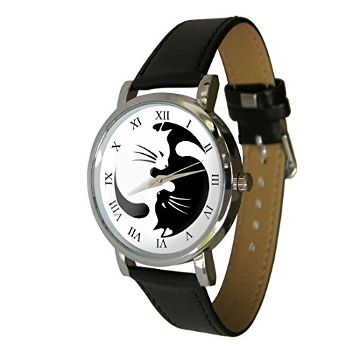 Cute Yin Yang Cats Design fashion watch. The perfect cat lovers gift. Genuine Leather Strap