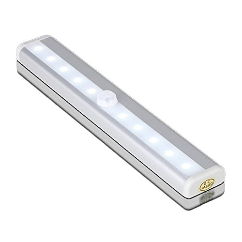 Motion Sensor Night Light Bar- Battery Operated 10 LED Lights for Under Cabinet Lighting, Closet, Hallway, Stairs | Portable Stick-on Anywhere Magnetic Wall Light for Easy Installation